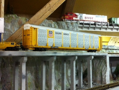 UP Auto Carrier Bridge Beton LGB Spur G Scale Garden Railroad USA Trains